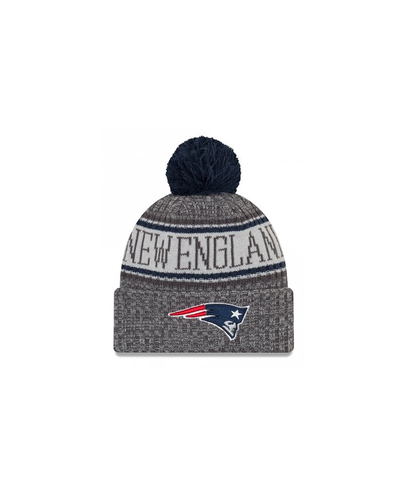 new style 28b2d 7a684 ... cuffed knit hat with pom gray cbf92 73263  cheap new era nfl 2018  sideline graphite knit new england patriots de147 be779